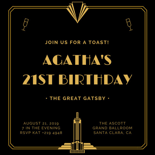 Black and Gold Invitation Template Best Of Customize 202 Great Gatsby Invitation Templates Online