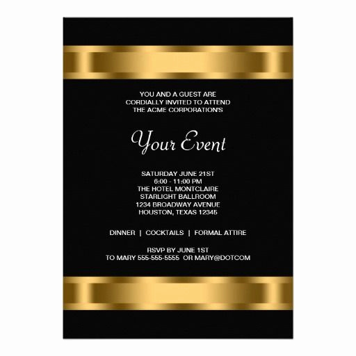 Black and Gold Invitation Template Elegant Black Gold Black Corporate Party event Invitation