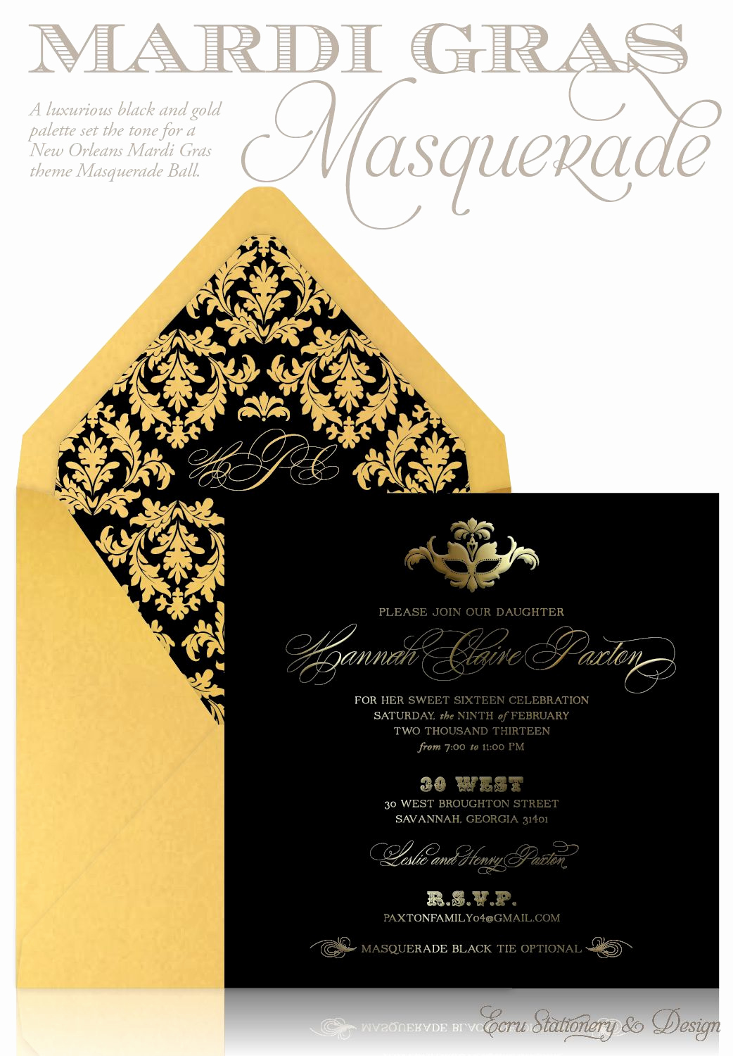 Black and Gold Invitation Template Elegant Custom Black and Gold Masquerade Party Sweet 16 Invitation