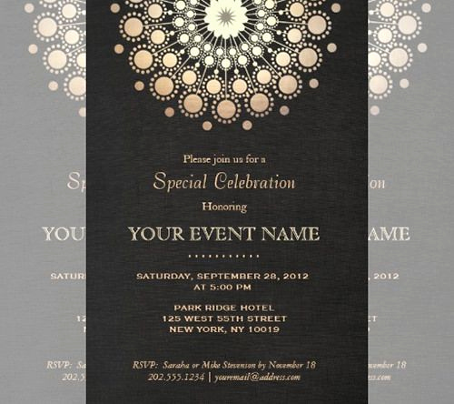 Black and Gold Invitation Template Fresh Black and Gold Bush Design
