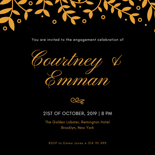 Black and Gold Invitation Template Fresh Party Invitation Templates Canva