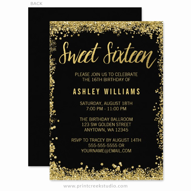 Black and Gold Invitation Template Fresh Sweet 16 Black and Gold Glitter Birthday Invitations