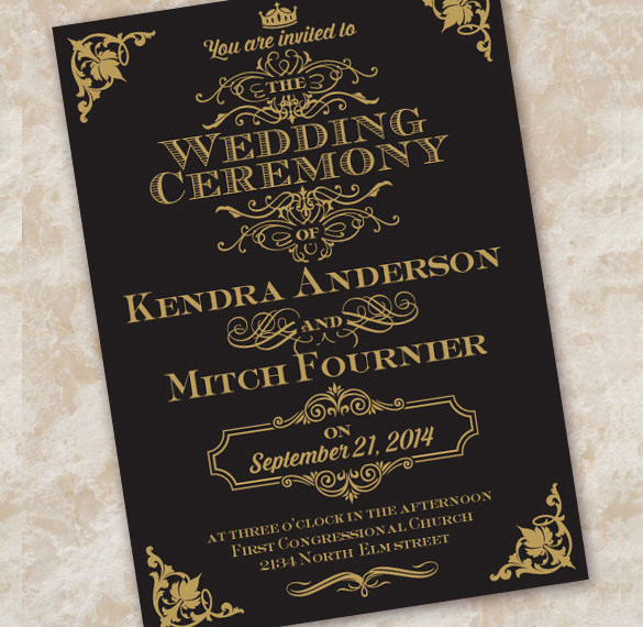 Black and Gold Invitation Template Fresh Wedding Invitation Etiquette 17 Psd Indesign format