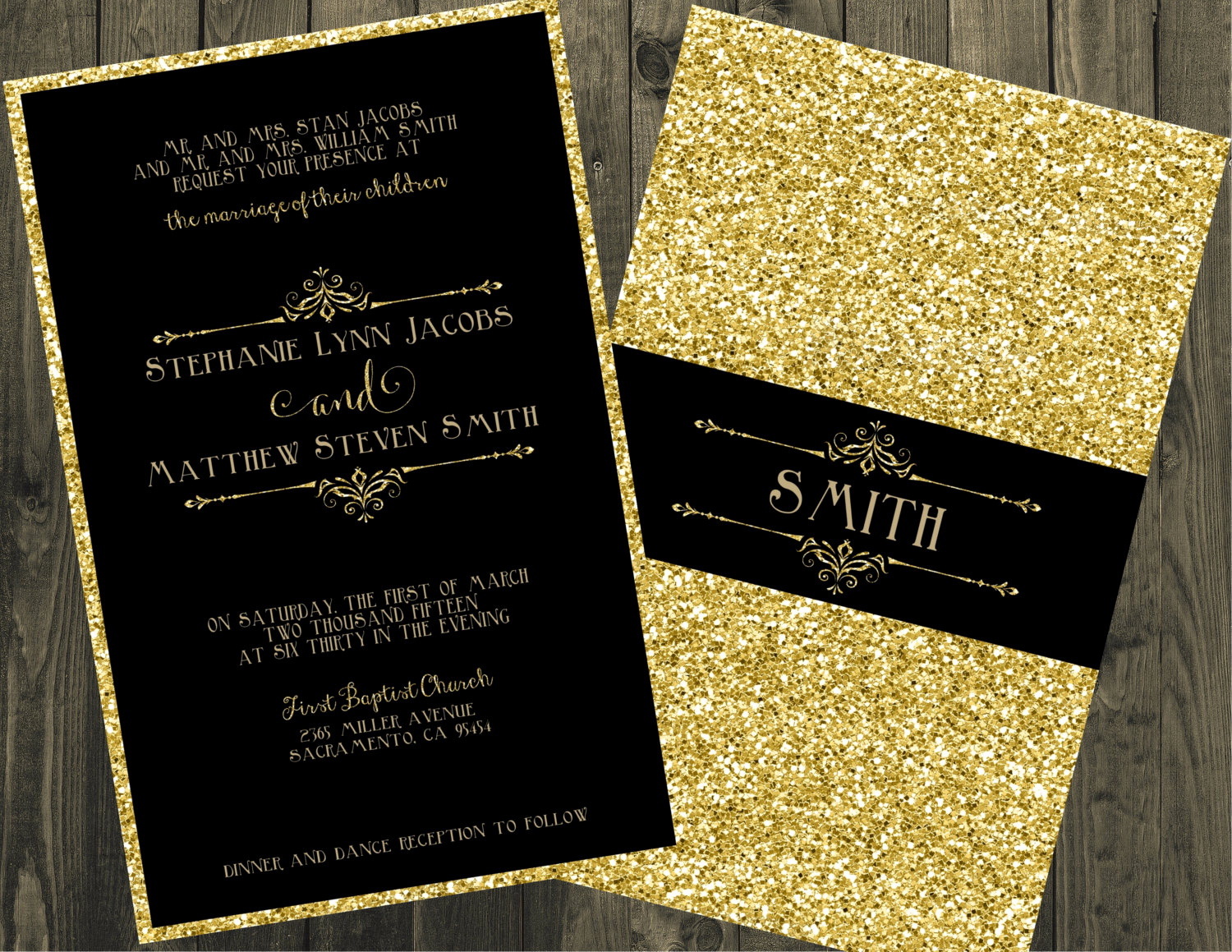 Black and Gold Invitation Template Lovely Black and Gold Wedding Invitation Glitter Wedding