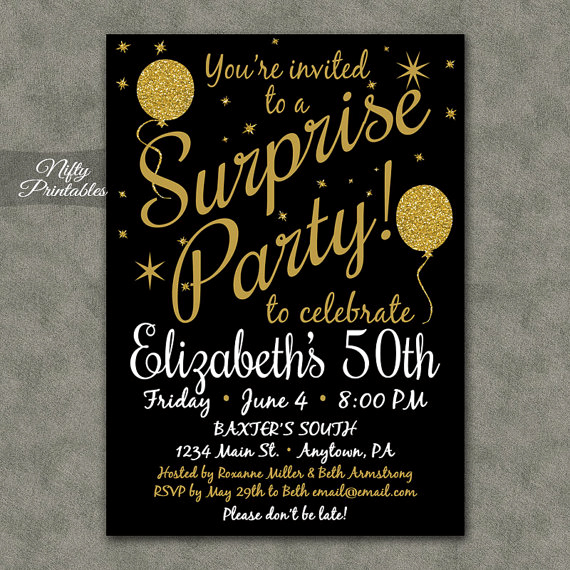 Black and Gold Invitation Template Luxury Surprise Party Invitations Printable Black & Gold Surprise