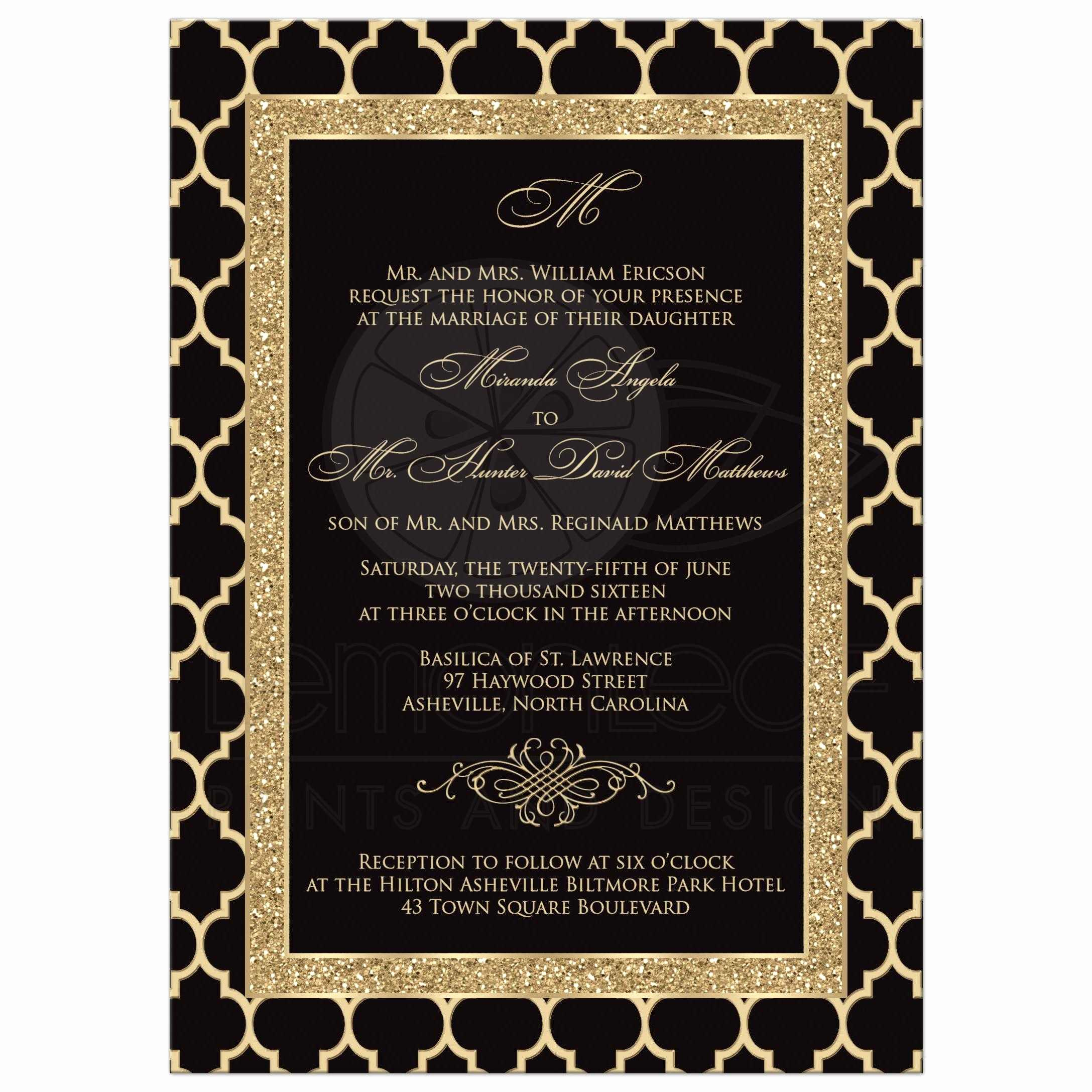 Black and Gold Invitation Template New Monogrammed Wedding Invitation