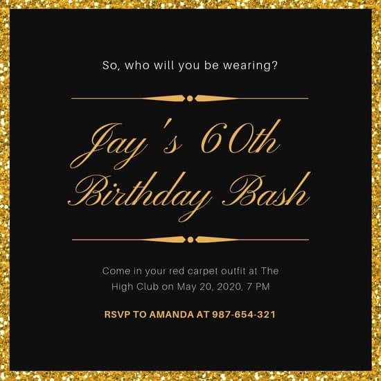 Black and Gold Invitation Unique Black and Gold Glitter Background Oscar Invitation