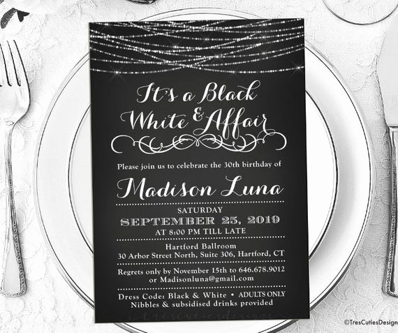 Black and White Invitation Awesome Its A Black and White Affair Party Invitations Black and