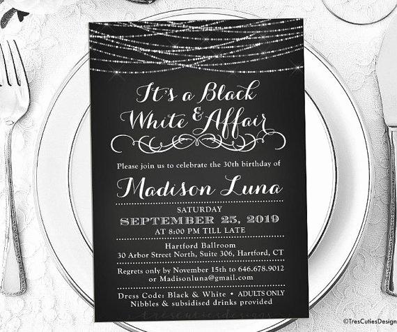 Black and White Invitation Elegant Its A Black and White Affair Party Invitations Black and