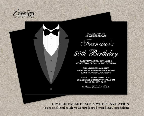 Black and White Invitation Fresh Black and White Birthday Invitation with Tuxedo Printable