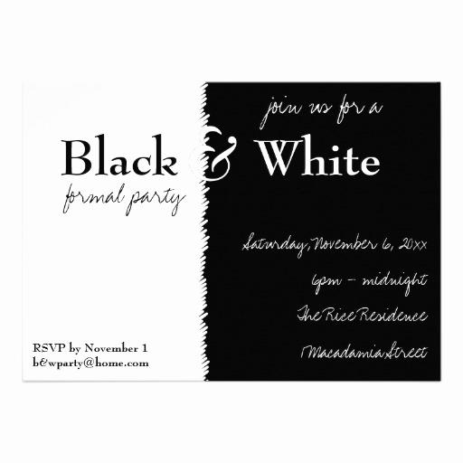 "Black and White Invitation Fresh Black and White theme Party Invitation 5"" X 7"" Invitation"