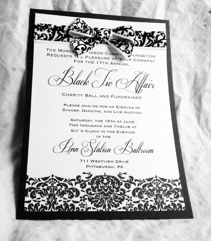 Black and White Invitation Fresh Classic Damask Black and White event Invitations