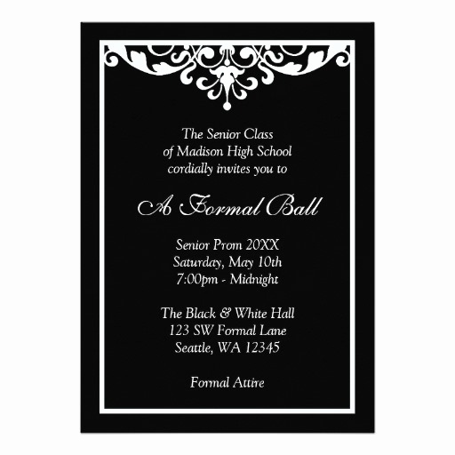 Black and White Invitation Lovely Black and White Flourish formal Prom Dance Ball Invitation