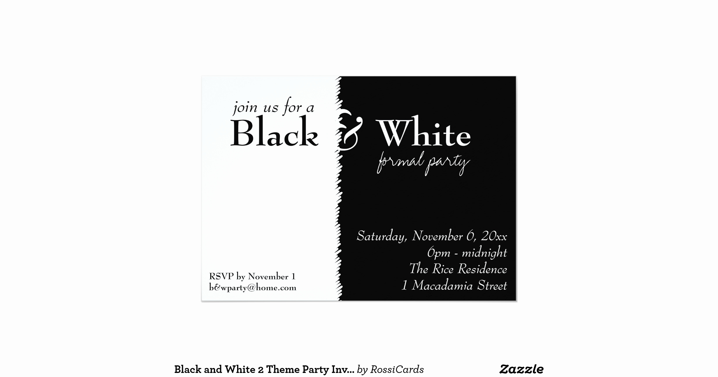 Black and White Invitation Luxury Black and White 2 theme Party Invitation