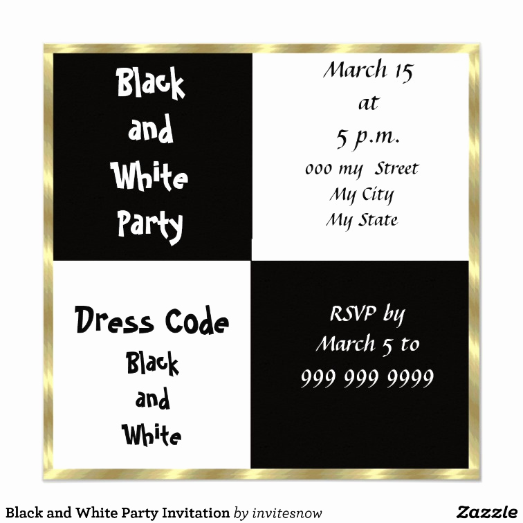 Black and White Invitation Luxury Black and White Party Invitation