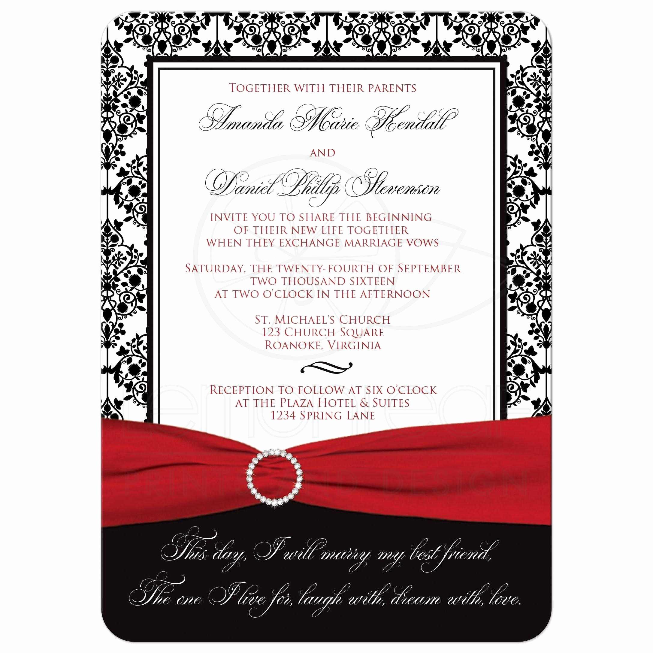 Black and White Invitation Luxury Wedding Invitation Black White Damask