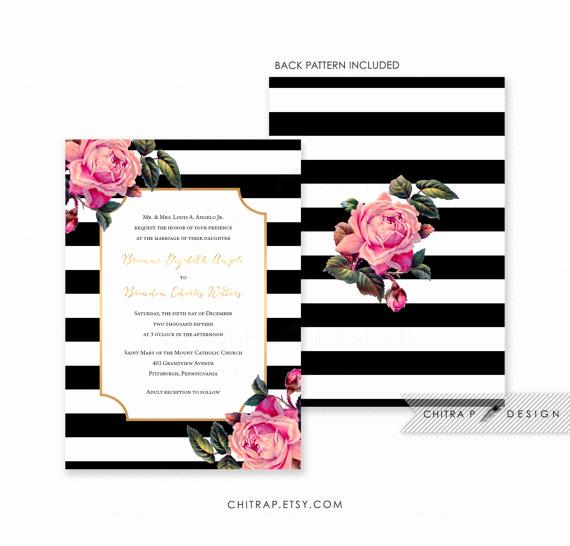 Black and White Invitation New Black & White Wedding Invitation Printed Pink Gold