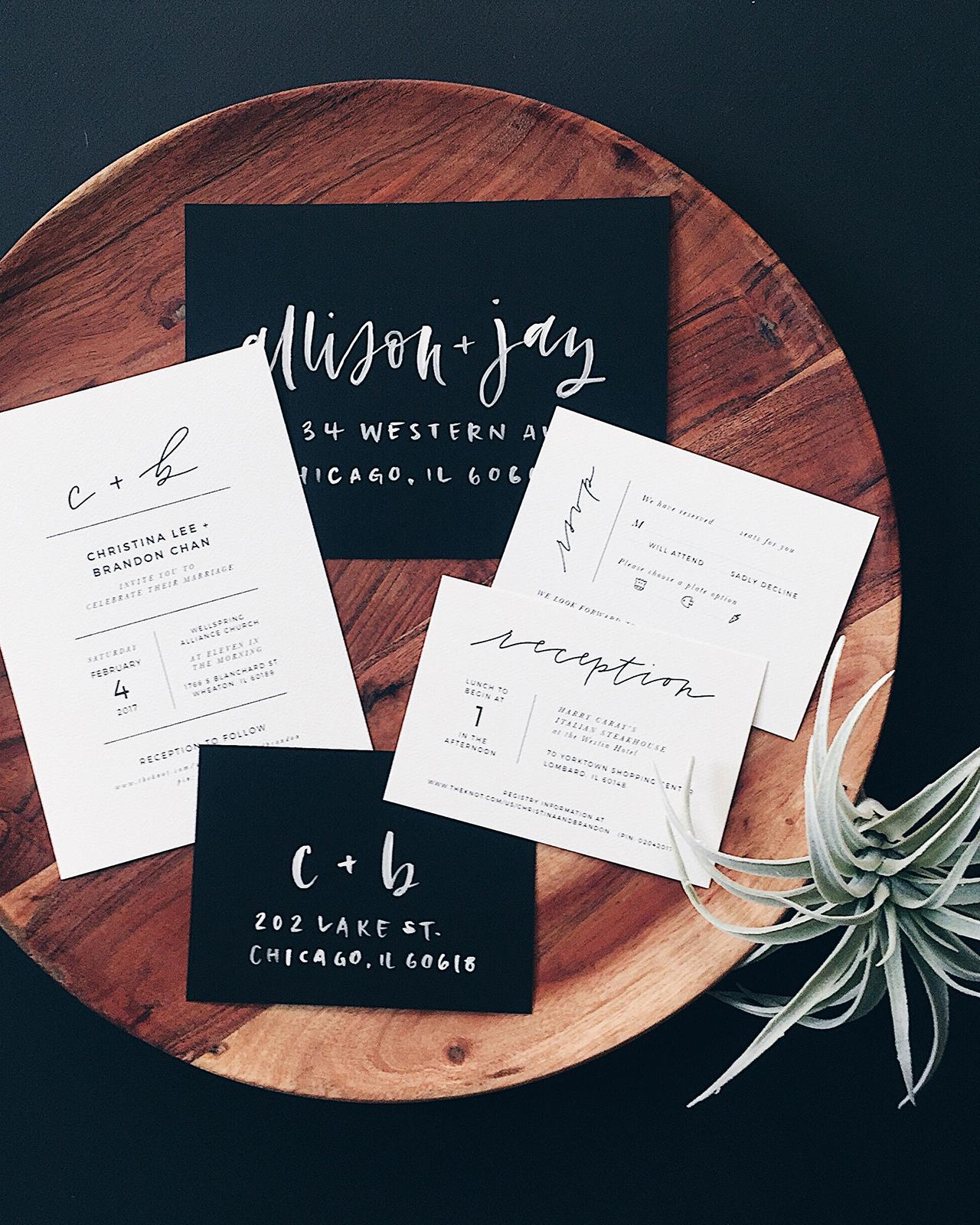 Black and White Invitation New Minimalist Black and White Hand Lettered Wedding Invitations