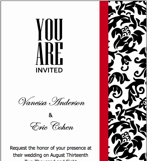 Black and White Invitation Template Awesome Black Red Wedding Invitations Template for Pages