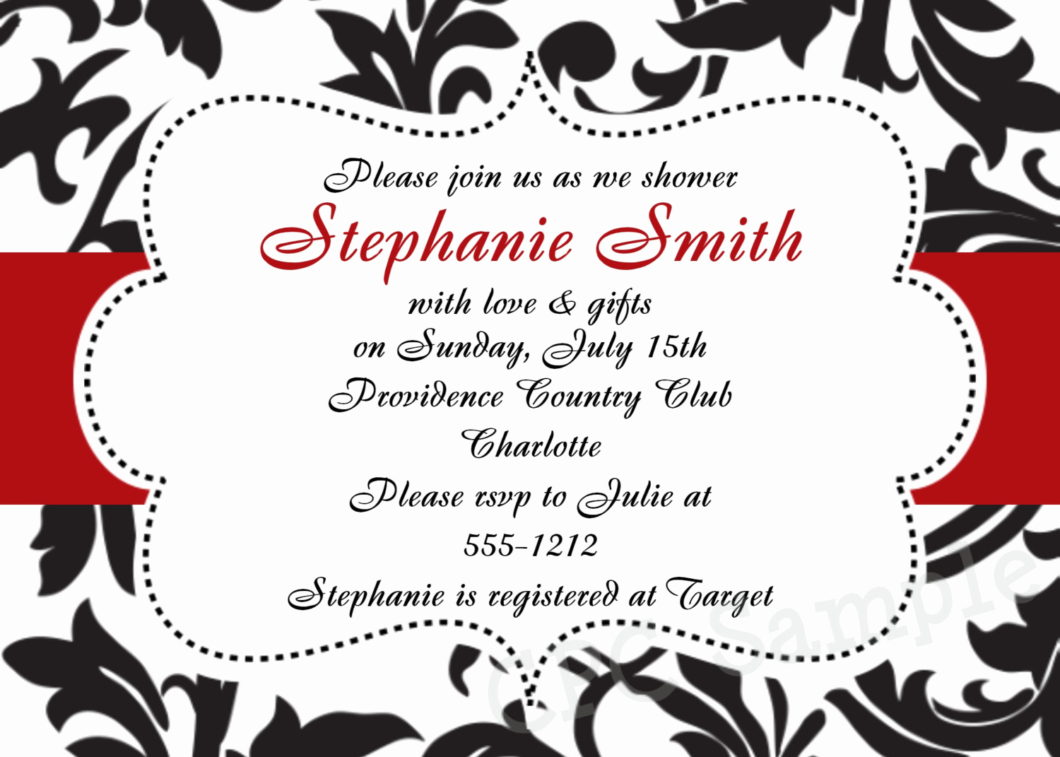Black and White Invitation Template Beautiful Black and White Damask Invitation Baby Shower Birthday