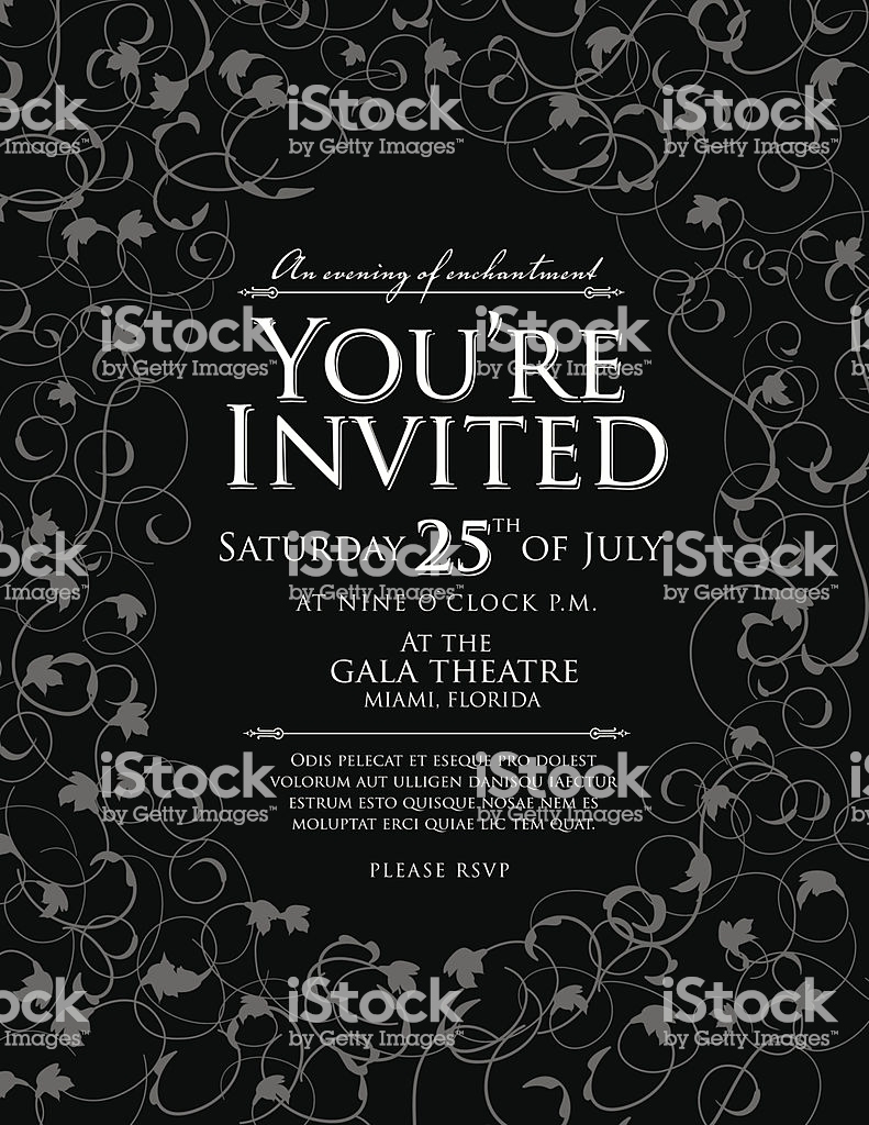 Black and White Invitation Template Fresh Elegant Black and White Invitation Design Template Stock