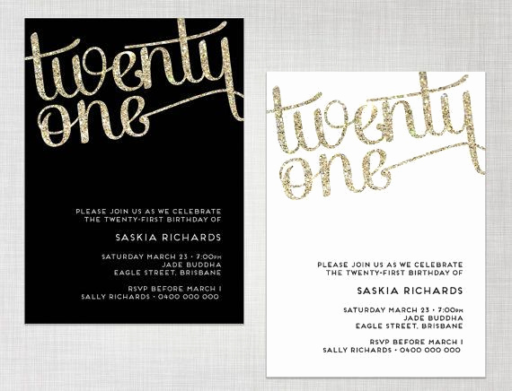 Black and White Invitation Template Fresh Free Printable 21st Birthday Invitations Wording