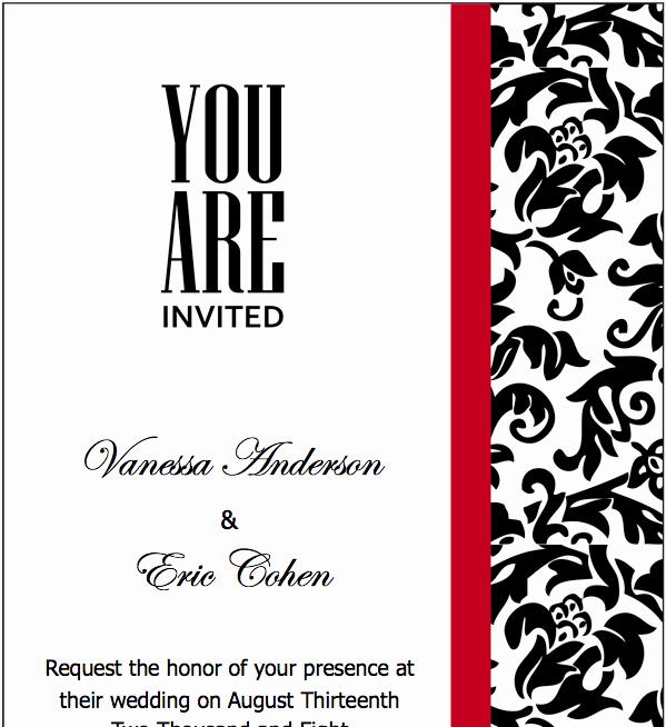 Black and White Invitation Template Fresh Pages Black Red Wedding Invitations Template