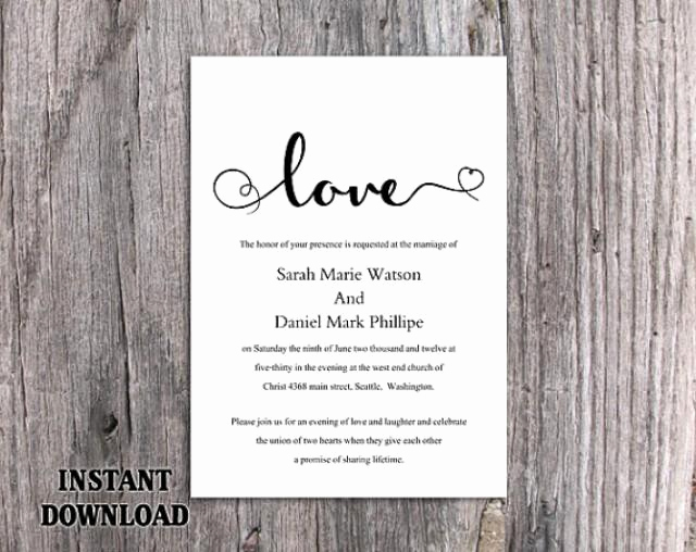 Black and White Invitation Template Inspirational Diy Wedding Invitation Template Editable Word File Instant