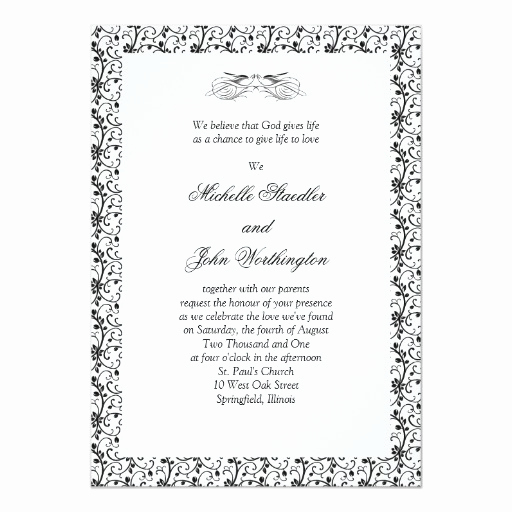 Black and White Invitation Template Lovely Black & White Wedding Invitation Template