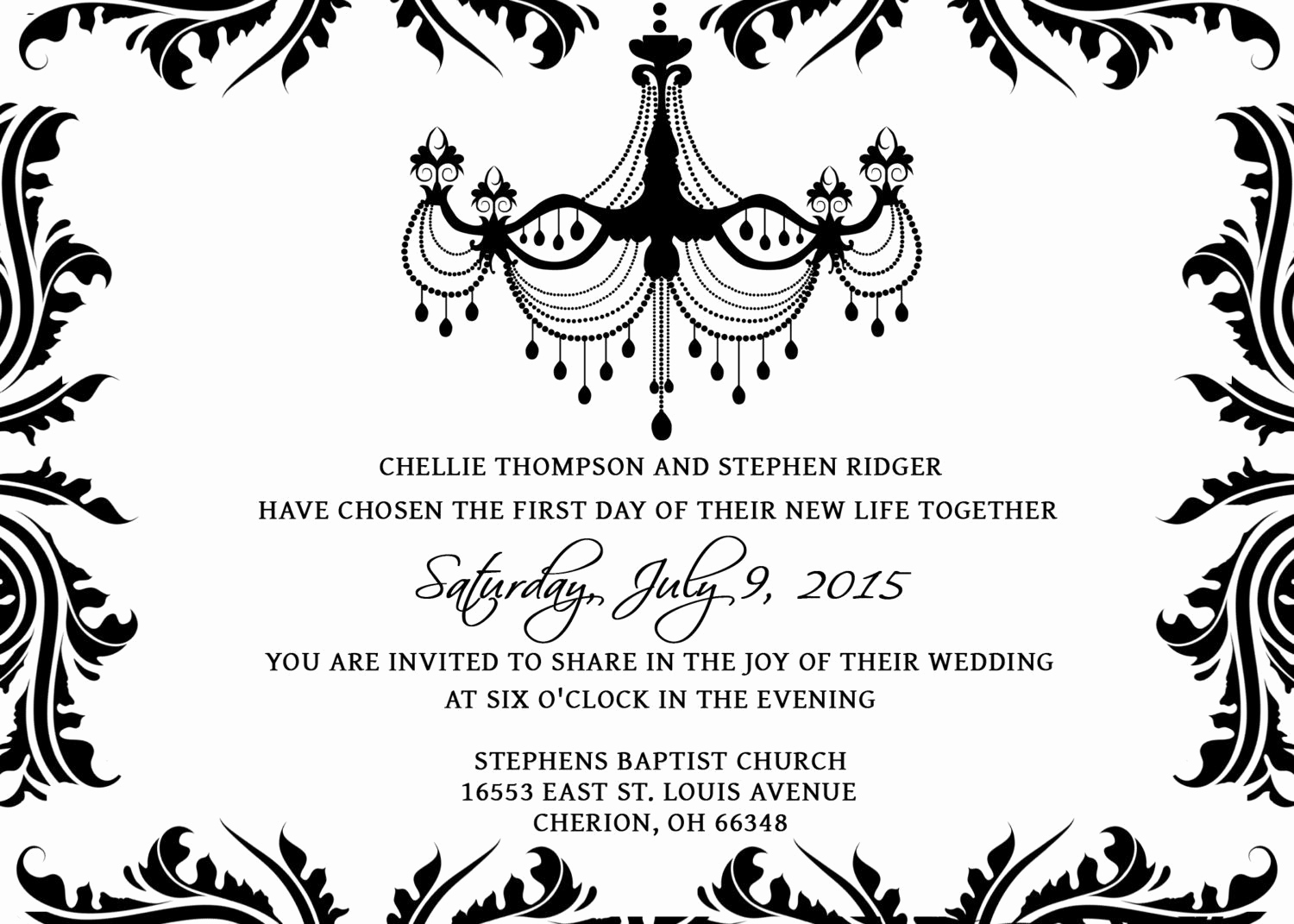 Black and White Invitation Template Luxury Black and White Blank Invitations