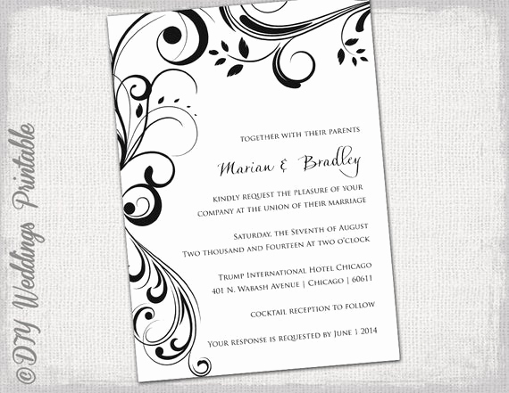 Black and White Invitation Template Luxury Wedding Invitation Templates Black and White