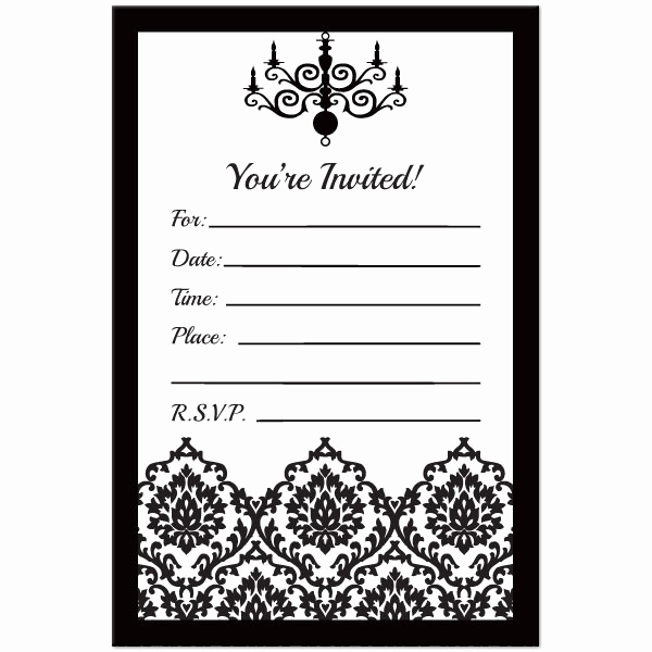 black and white blank invitations
