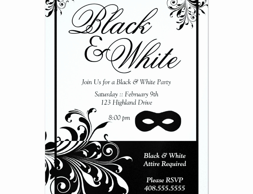 Black and White Invitation Template New Black and White Party Invitations Templates Cobypic