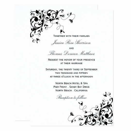 Black and White Invitation Unique Elegant Swirls Black & White Wedding Invitations