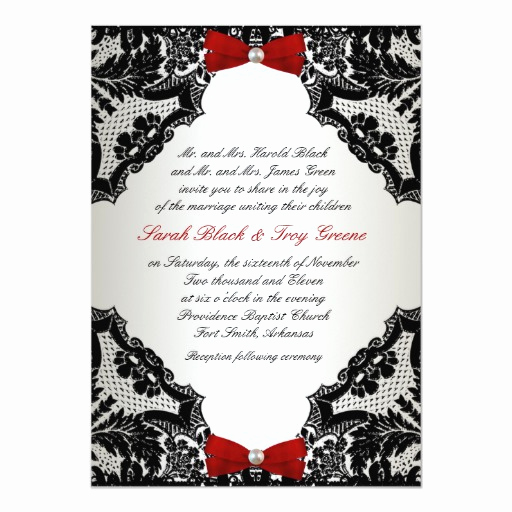 Black and White Wedding Invitation Awesome Red White and Black Lace Wedding Invitation