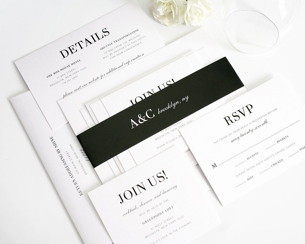 Black and White Wedding Invitation Beautiful Glamorous Black and White Wedding Invitations – Wedding