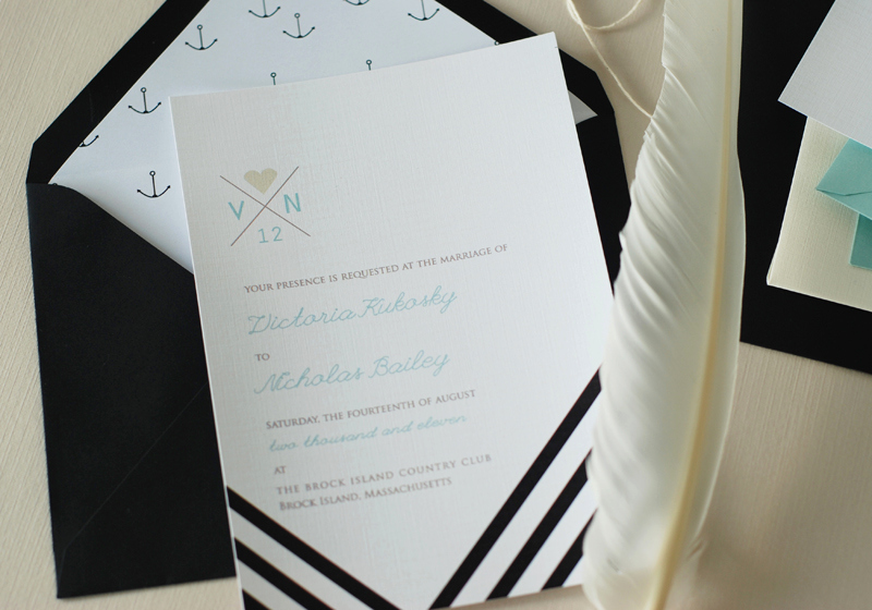 Black and White Wedding Invitation Beautiful Modern Nautical Black White Wedding Invitations