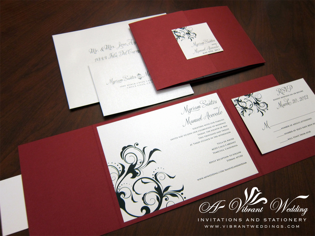 Black and White Wedding Invitation Beautiful Red and Black Wedding Invitation – A Vibrant Wedding