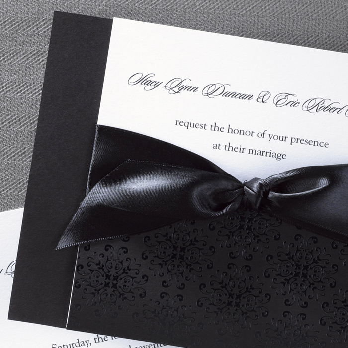 Black and White Wedding Invitation Elegant Classic Black and White Wedding Invitations Little Flamingo