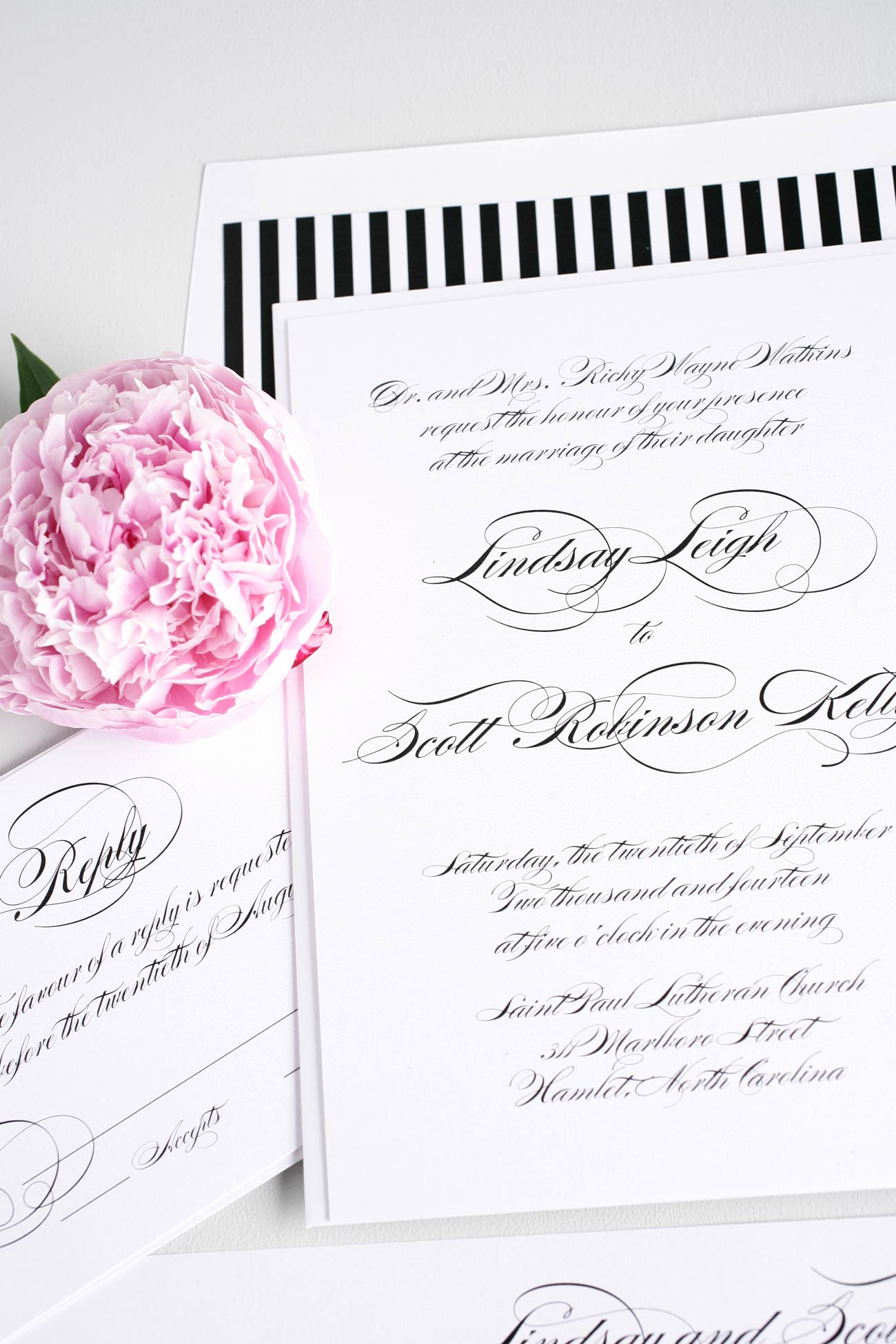 Black and White Wedding Invitation Elegant Elegant Black and White Script Wedding Invitations