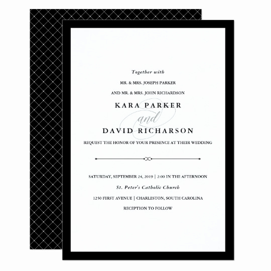 Black and White Wedding Invitation Elegant Elegant Couture