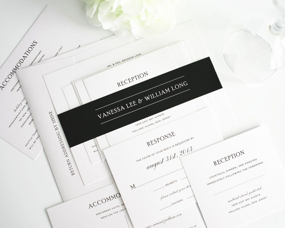 Black and White Wedding Invitation Elegant Traditional Wedding Invitations In Black and White