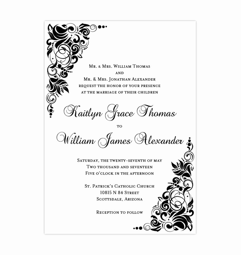 Black and White Wedding Invitation Inspirational Gianna Wedding Invitation Black White Wedding Template Shop