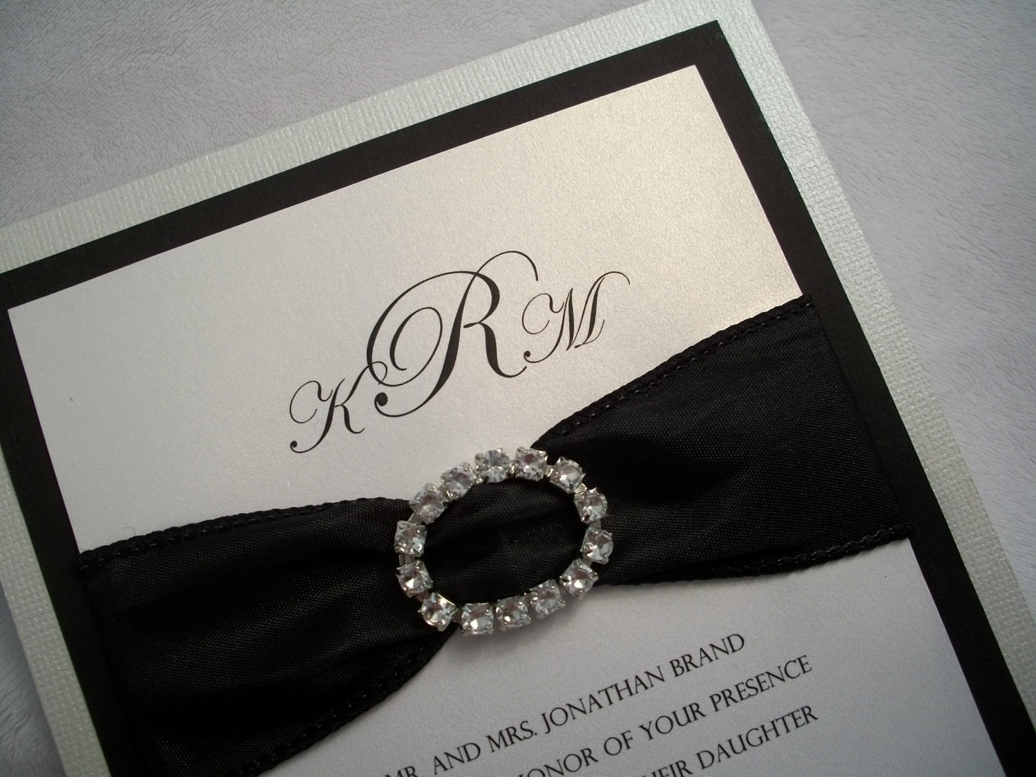 Black and White Wedding Invitation Inspirational Rhinestone Wedding Invitation Suite Black and White Wedding