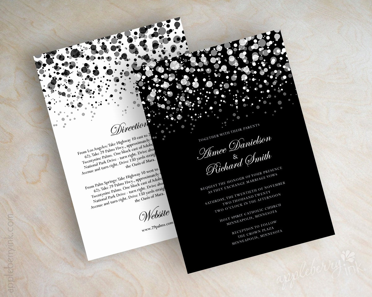 Black and White Wedding Invitation Lovely Black and White Polka Dot Wedding Invitation Modern Polka