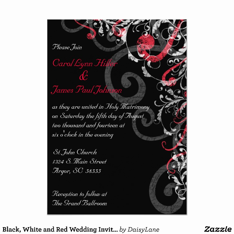 Black and White Wedding Invitation New Black White and Red Wedding Invitation