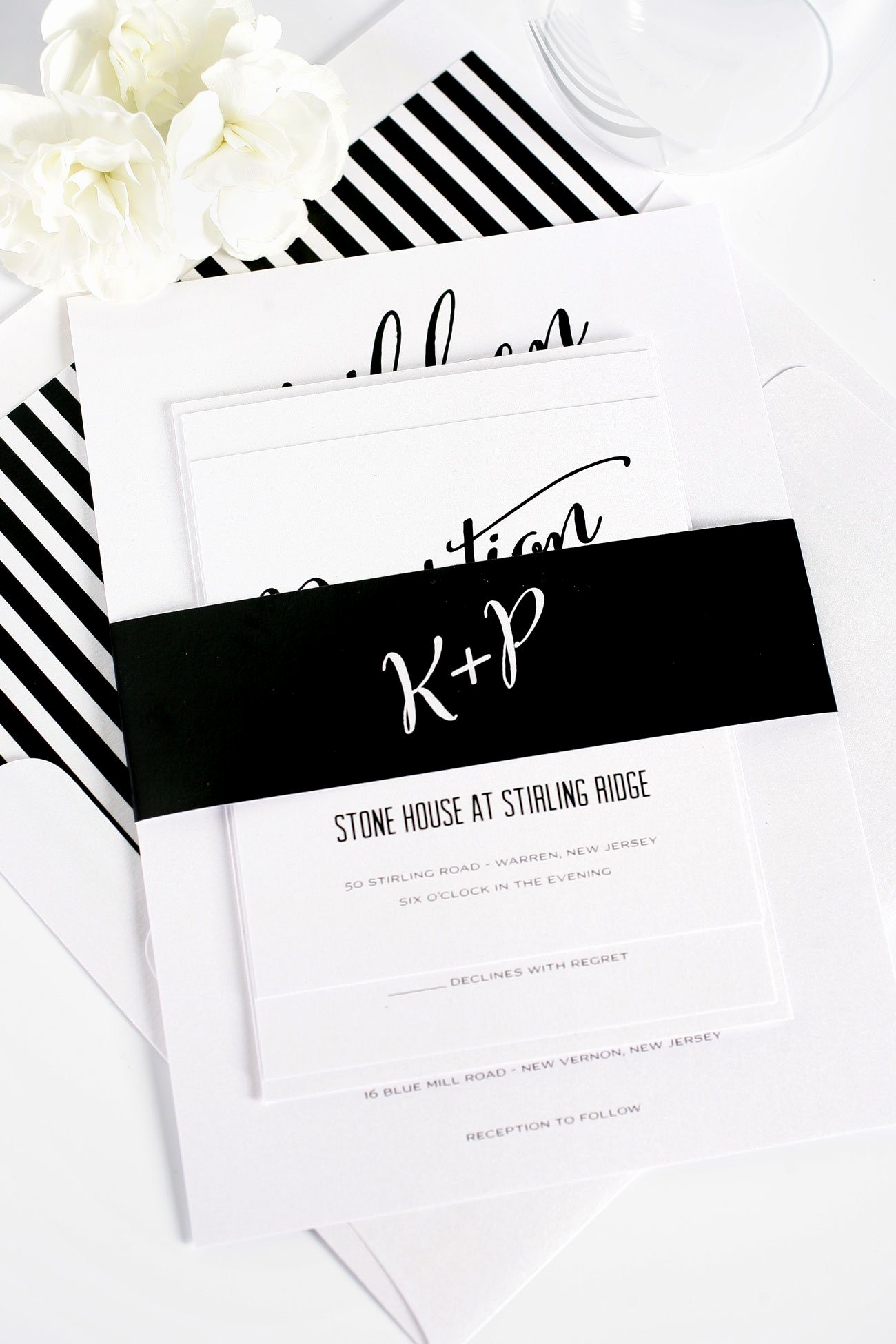 Black and White Wedding Invitation Unique Modern Calligraphy Wedding Invitations In Black and White