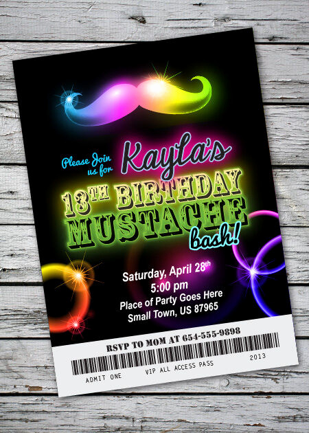 Black Light Party Invitation Templates Awesome Mustache Bash Glow In the Dark theme Birthday Party