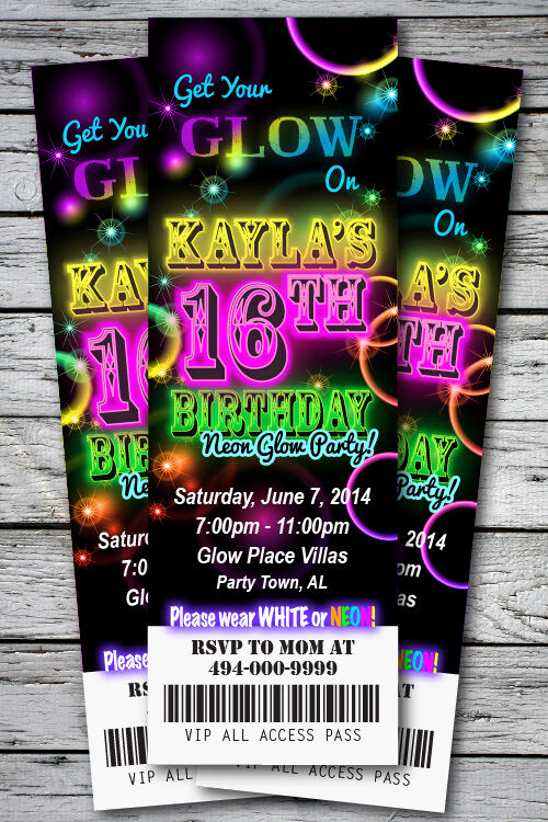 Black Light Party Invitation Templates Awesome Sweet 16th Glow In the Dark theme Neon Disco Birthday