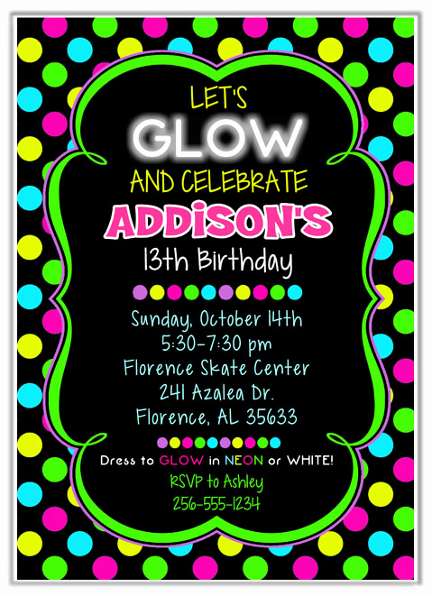 Black Light Party Invitation Templates Beautiful Neon Glow Birthday Party Invitations